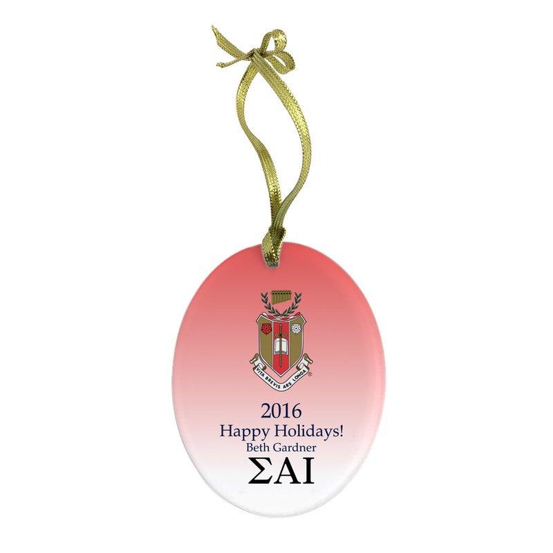 Sigma Alpha Iota Holiday Color Crest - Shield Glass Ornament