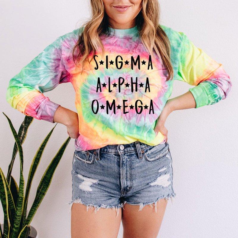 Sigma Alpha Omega Tie-Dye Minty Rainbow Long-Sleeve T-Shirt