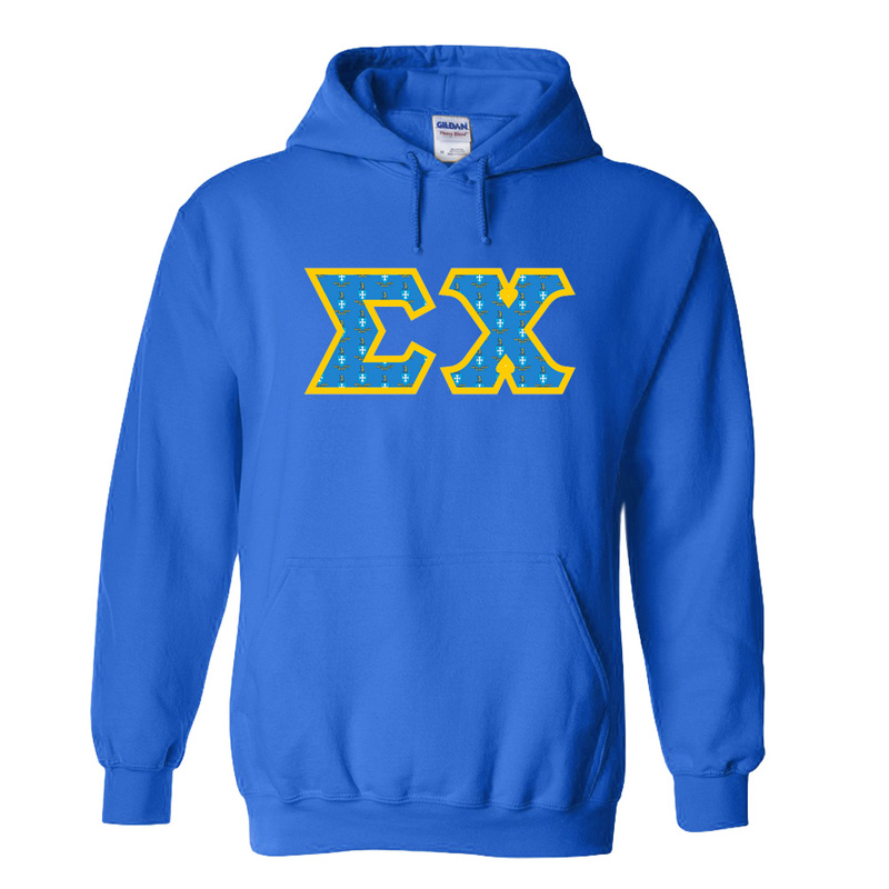 Sigma Chi Fraternity Crest - Shield Twill Letter Hooded Sweatshirt