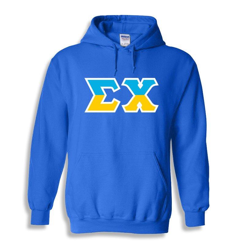 Sigma Chi Two Tone Greek Lettered Hooded Sweatshirt