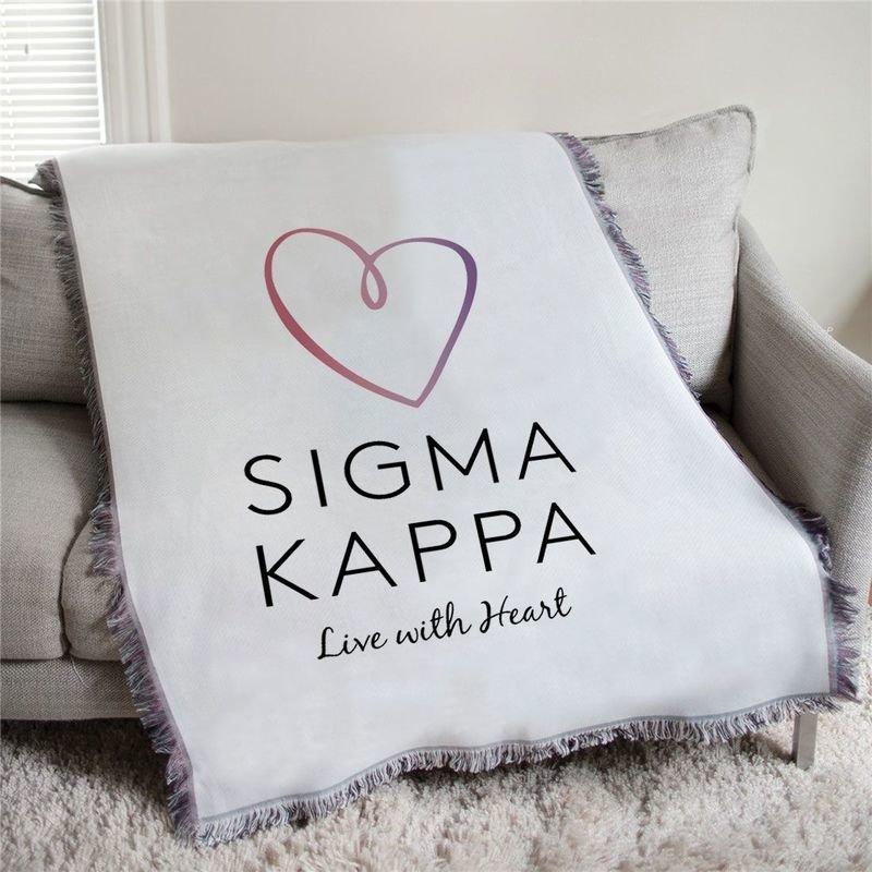 Sigma Kappa Heart Afghan Blanket Throw