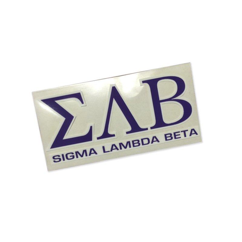 Sigma Lambda Beta Letters Over Name Sticker