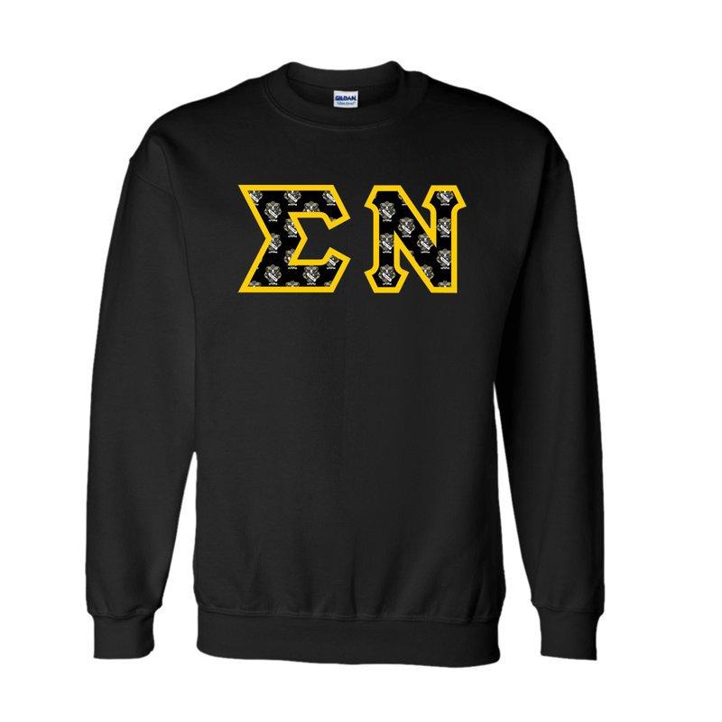 Sigma Nu Fraternity Crest - Shield Twill Letter Crewneck Sweatshirt