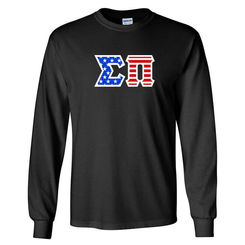 DISCOUNT-Sigma Pi Greek Letter American Flag long sleeve tee