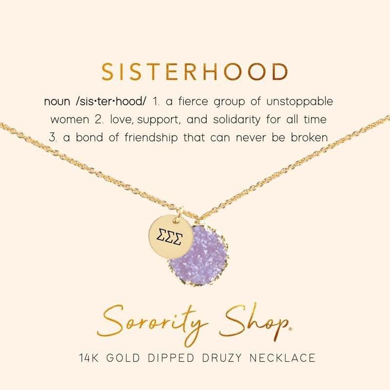 Sigma Sigma Sigma Sisterhood Druzy Necklace