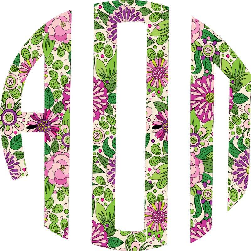 Sorority Floral Monogram Stickers