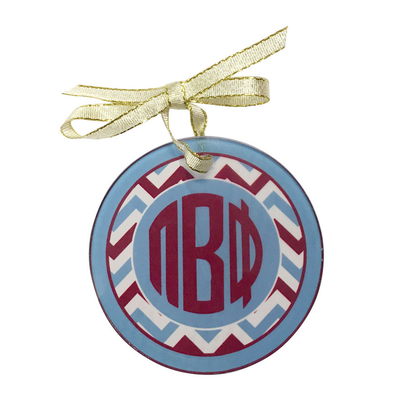 Sorority Round Frosted Glass Ornament