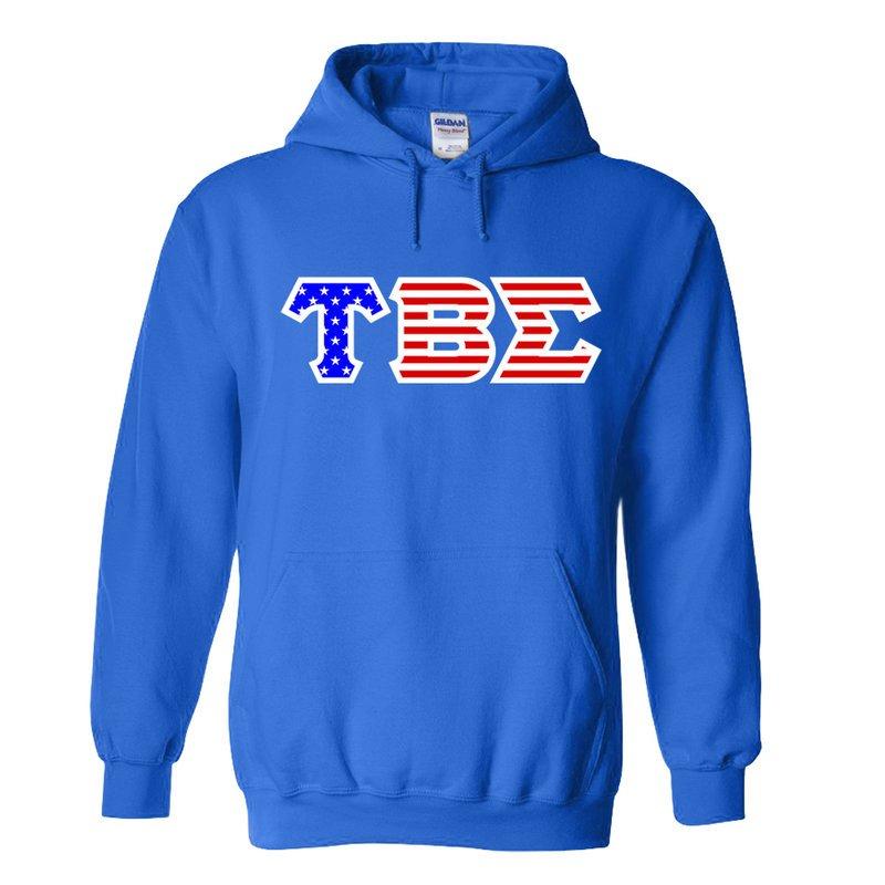 Tau Beta Sigma Greek Letter American Flag Hoodie