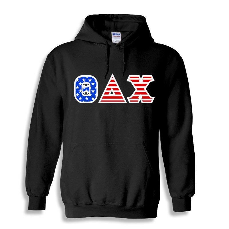 Theta Delta Chi Greek Letter American Flag Hoodie