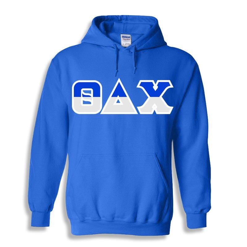 Theta Delta Chi Two Tone Greek Lettered Hooded Sweatshirt
