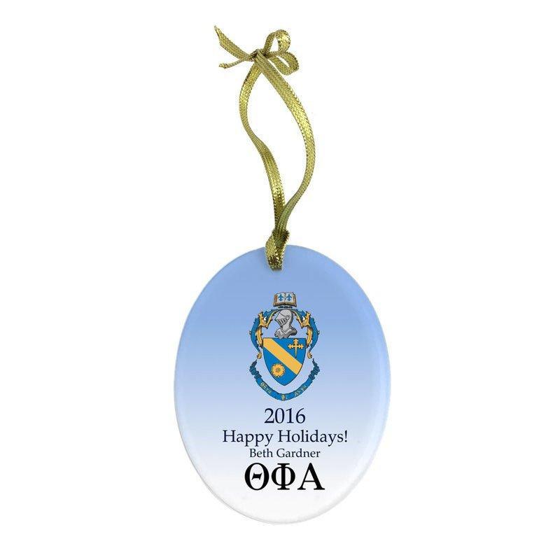 Theta Phi Alpha Holiday Color Crest - Shield Glass Ornament