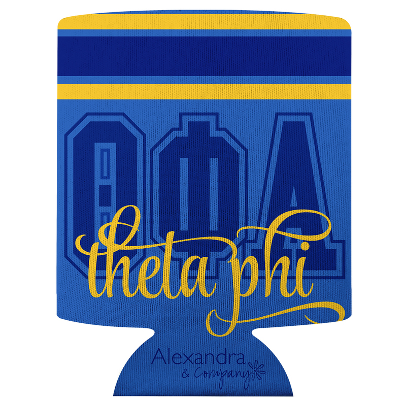 Theta Phi Alpha Striped Can Cooler