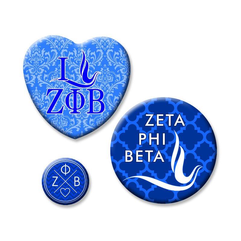 Zeta Phi Beta Button Set