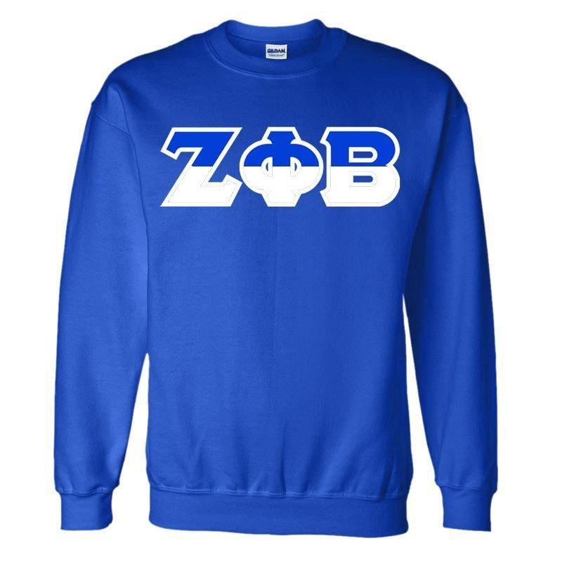 Zeta Phi Beta Two Tone Greek Lettered Crewneck Sweatshirt