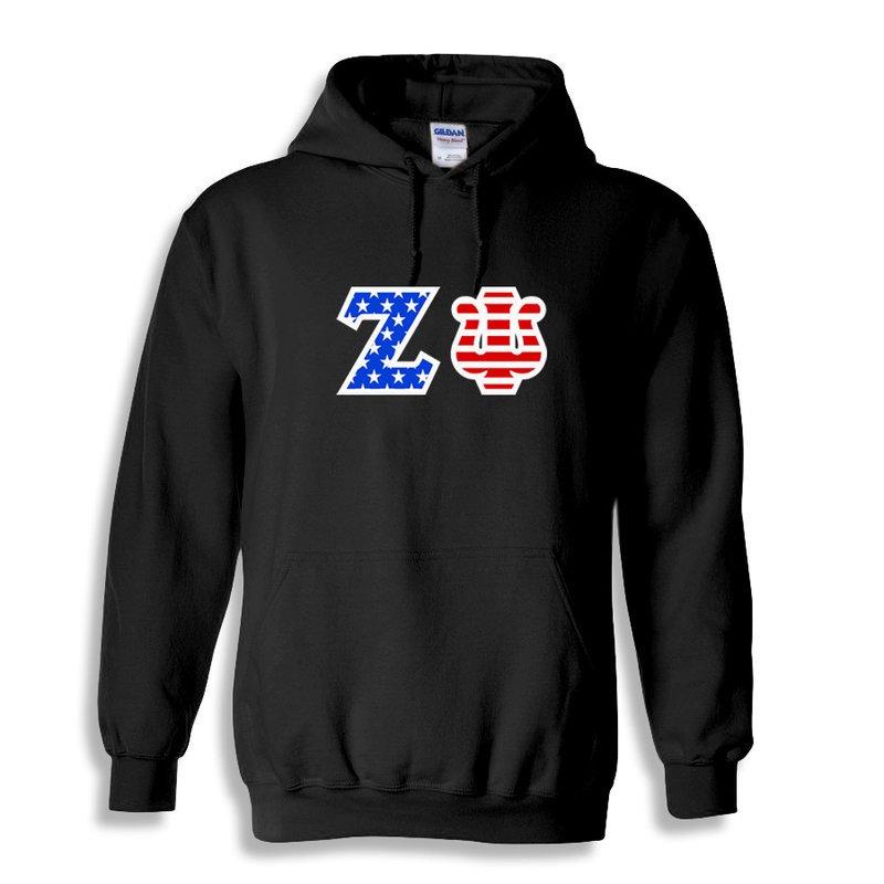 Zeta Psi Greek Letter American Flag Hoodie