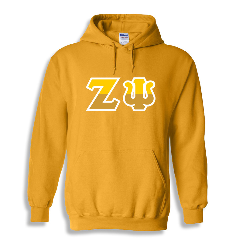 Zeta Psi Two Tone Greek Lettered Hooded Sweatshirt