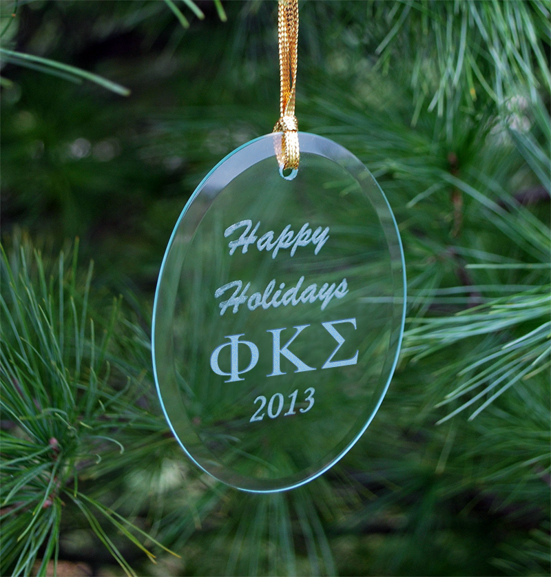 Phi Kappa Sigma Greek Holiday Glass Ornaments