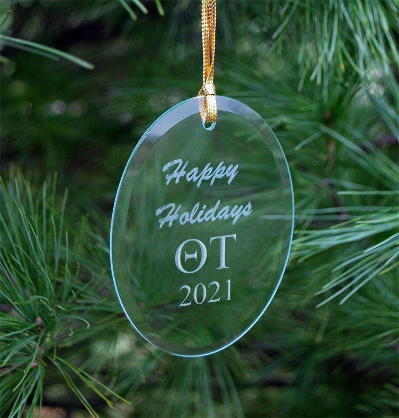 Theta Tau Holiday Glass Oval Ornaments
