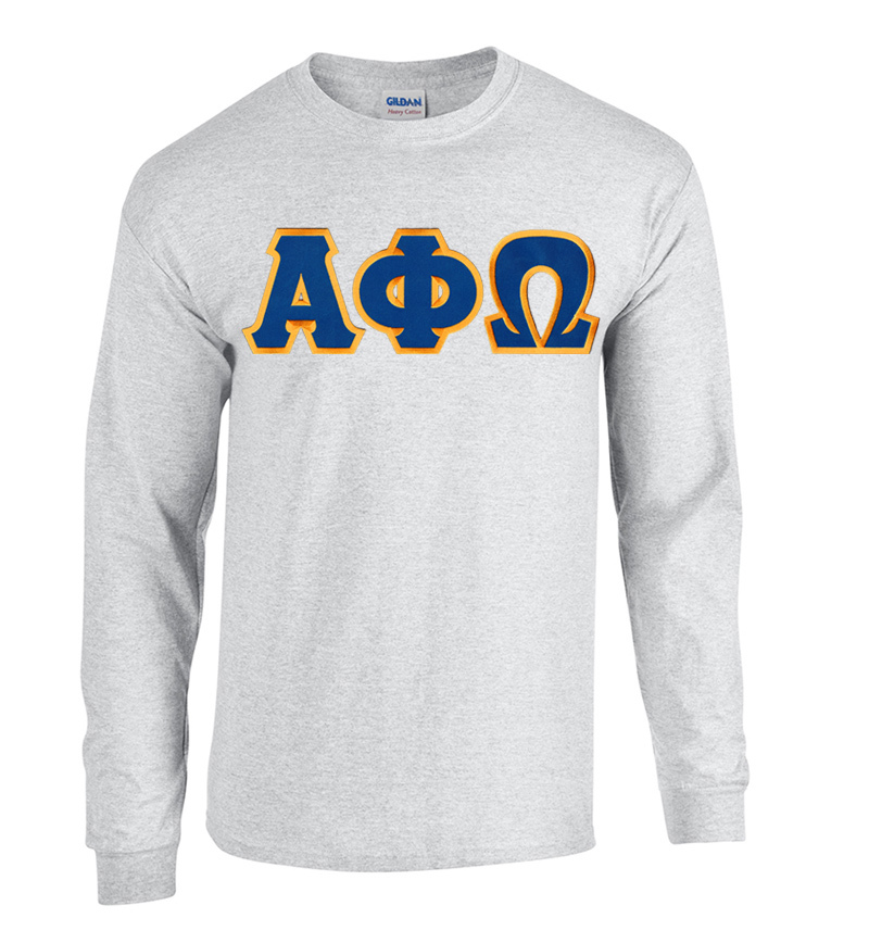 DISCOUNT Alpha Phi Omega Lettered Long Sleeve Tee
