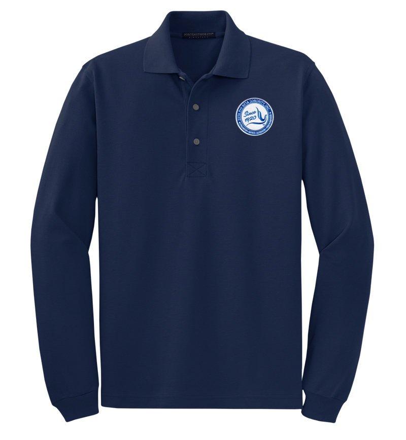 DISCOUNT-Zeta Phi Beta Emblem Long Sleeve Polo