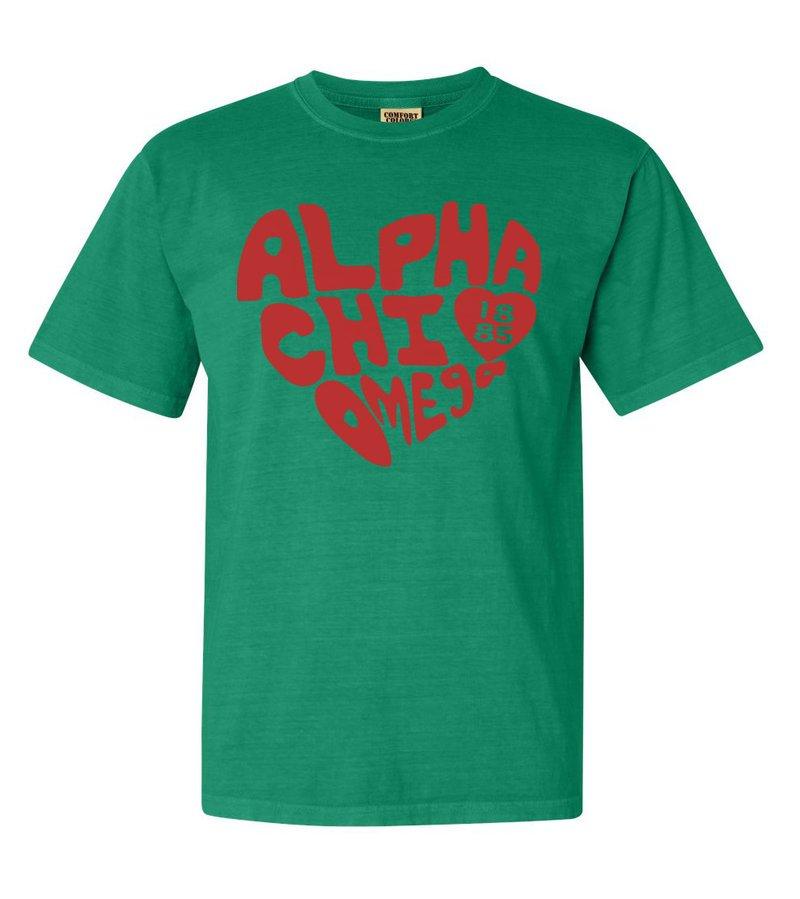 Alpha Chi Omega Piece of My Heart Sorority Comfort Colors T-Shirt