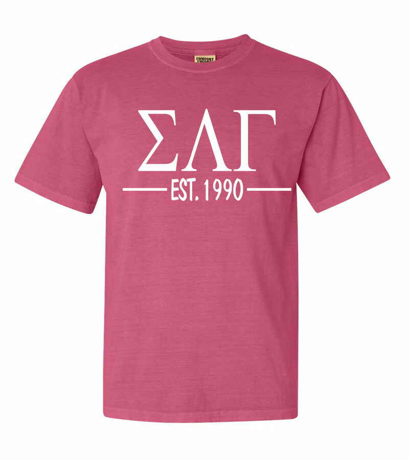 Sigma Lambda Gamma Custom Greek Lettered Short Sleeve T-Shirt - Comfort Colors