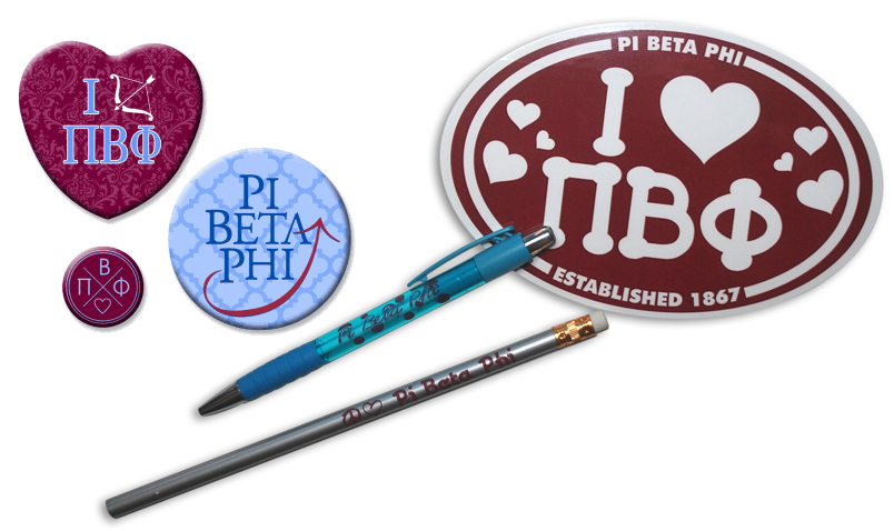 Sorority Button, Pen, Pencil & Decal Set
