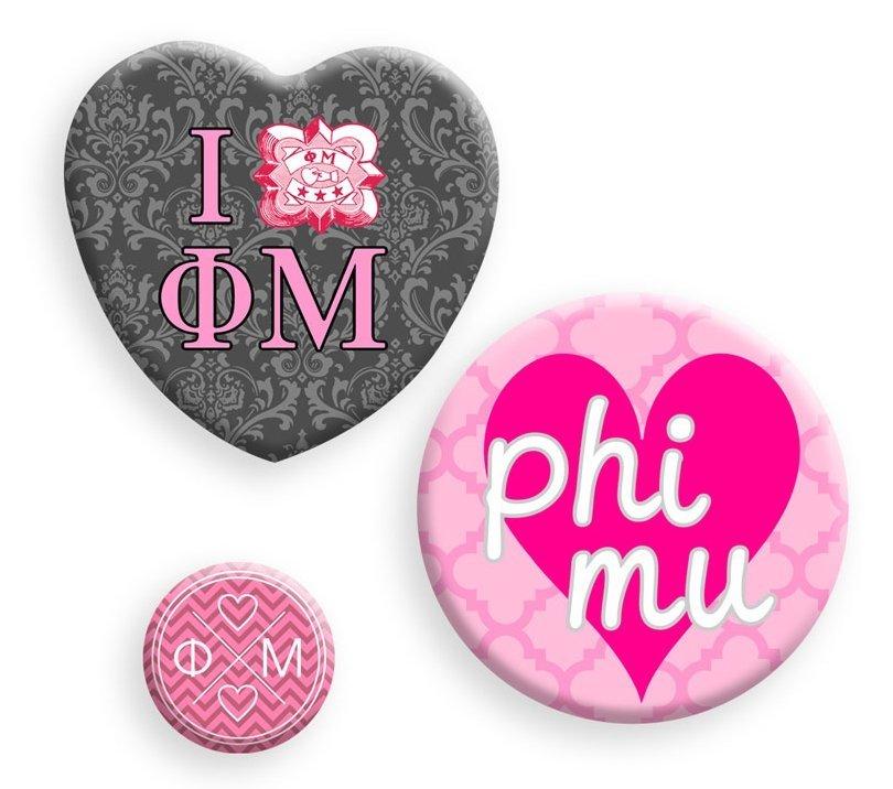 Phi Mu Button Set