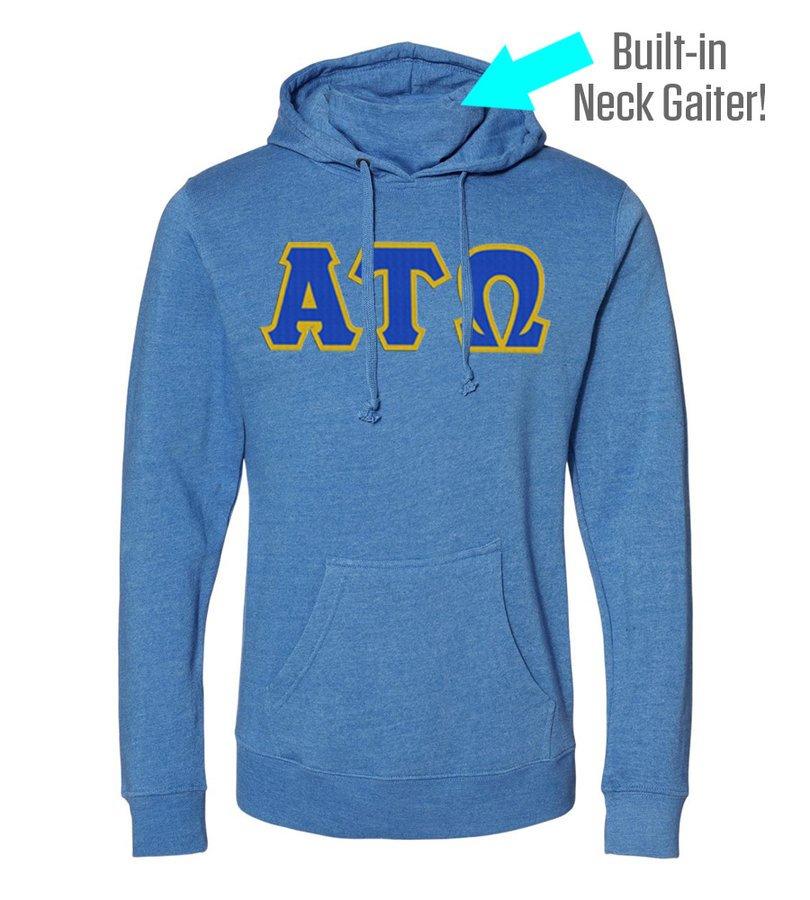 Alpha Tau Omega Lettered Gaiter Fleece Hooded Sweatshirt