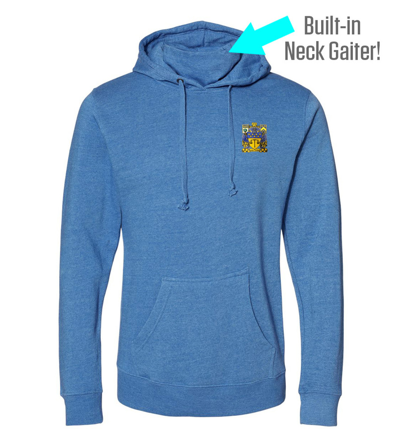 Delta Upsilon Crest Gaiter Fleece Hooded Sweatshirt