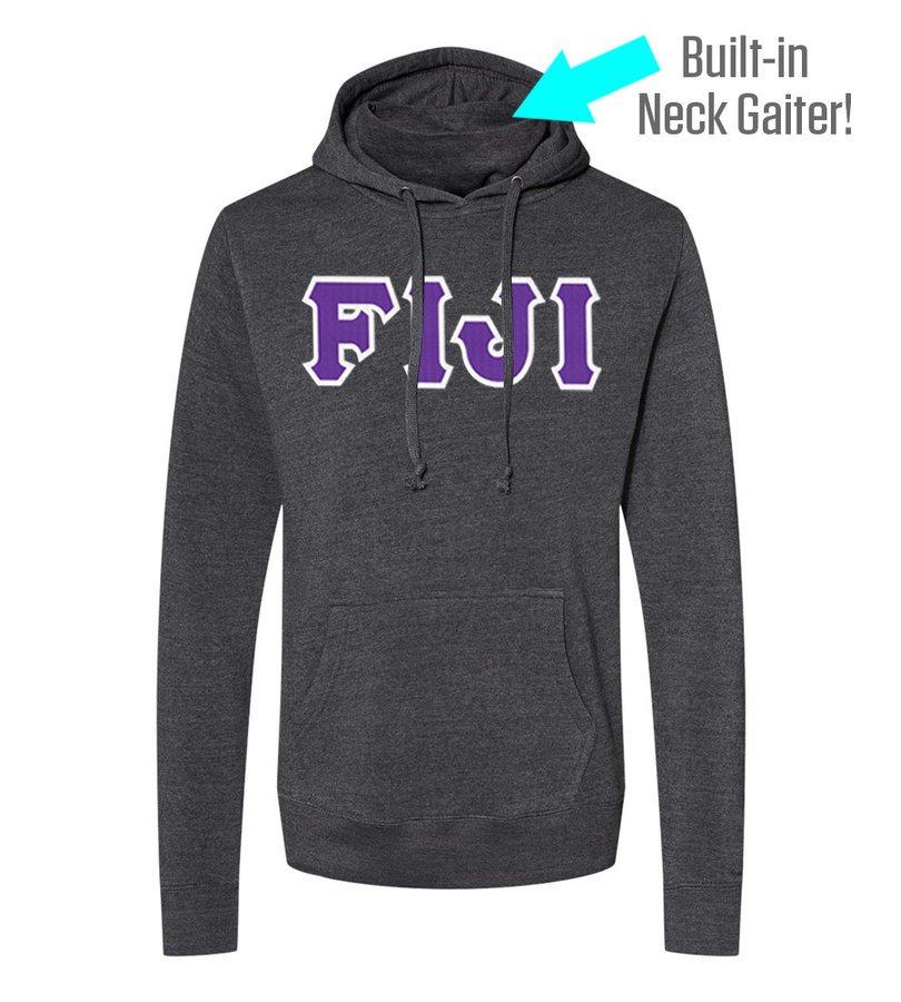 FIJI Lettered Gaiter Fleece Hooded Sweatshirt