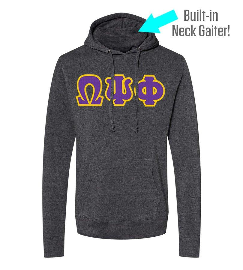 Omega Psi Phi Lettered Gaiter Fleece Hooded Sweatshirt