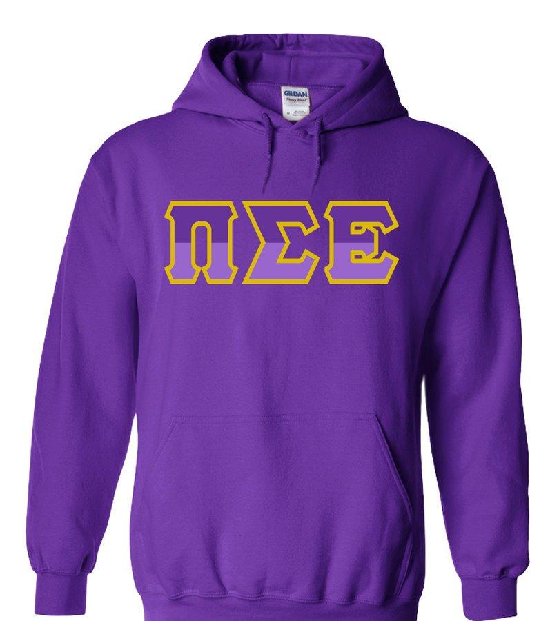 Pi Sigma Epsilon Two Tone Greek Lettered Hooded Sweatshirt