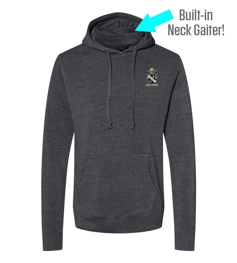 Sigma Nu Crest Gaiter Fleece Hooded Sweatshirt