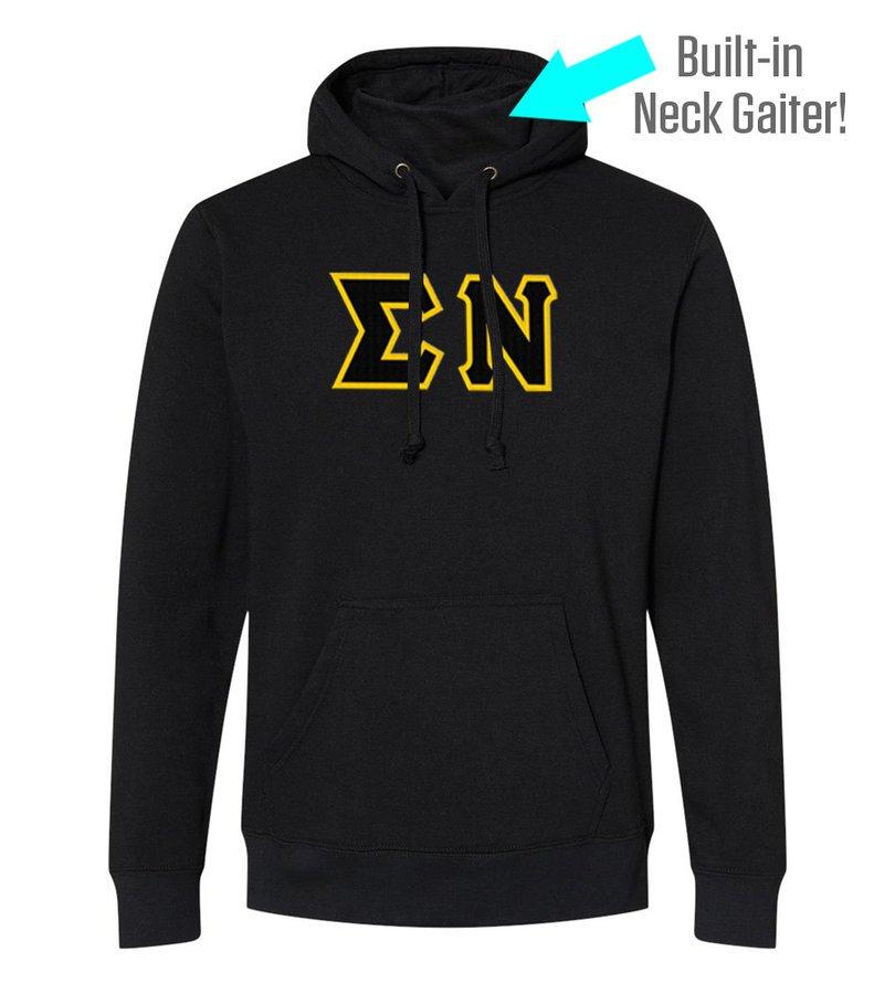 Sigma Nu Lettered Gaiter Fleece Hooded Sweatshirt