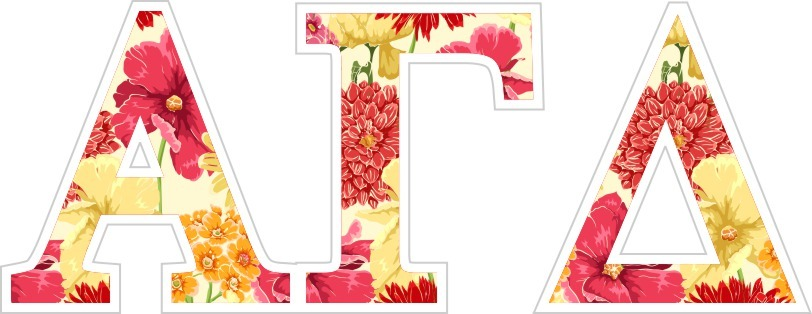 "Alpha Gamma Delta Floral Greek Letter Sticker - 2.5"" Tall"