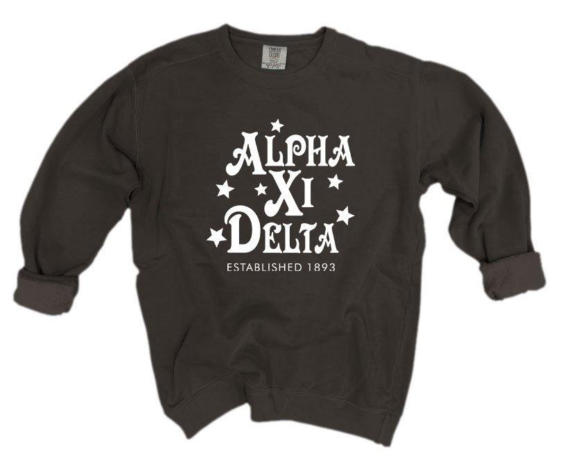 Alpha Xi Delta Comfort Colors Old School Custom Crew