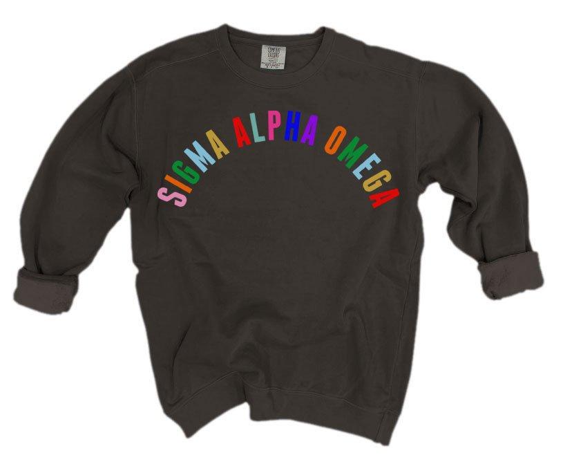 Sigma Alpha Omega Comfort Colors Rainbow Arch Crew