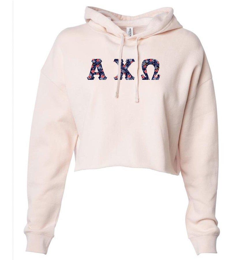 Alpha Chi Omega Lightweight Hooded Pullover Crop Sweatshirt