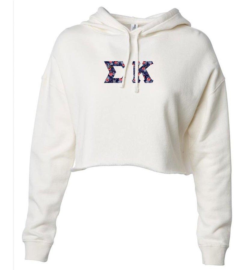 Sigma Kappa Lightweight Hooded Pullover Crop Sweatshirt