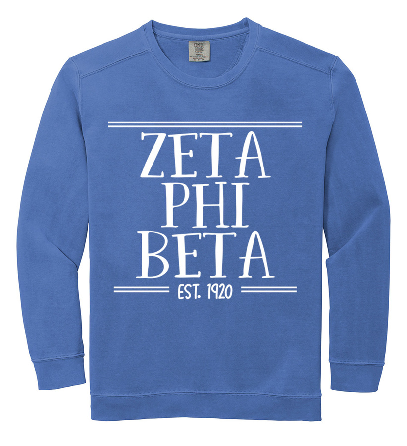 Zeta Phi Beta Comfort Colors Custom Crewneck Sweatshirt