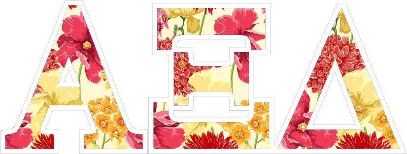 """Alpha Xi Delta Floral Greek Letter Sticker - 2.5"""" Tall"""