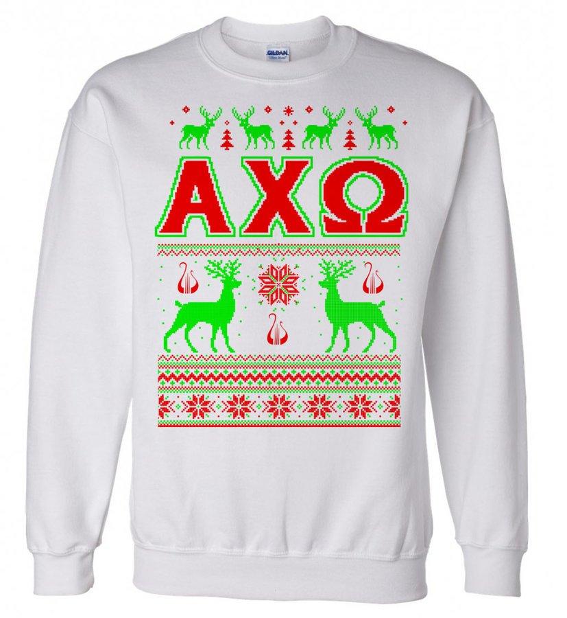 Alpha Chi Omega Ugly Christmas Sweater Crewneck Sweatshirt