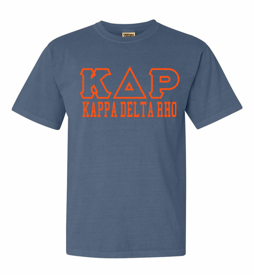 Kappa Delta Rho Greek Outline Comfort Colors Heavyweight T-Shirt