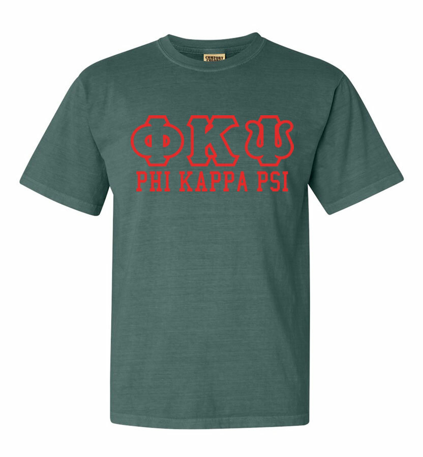 Phi Kappa Psi Greek Outline Comfort Colors Heavyweight T-Shirt