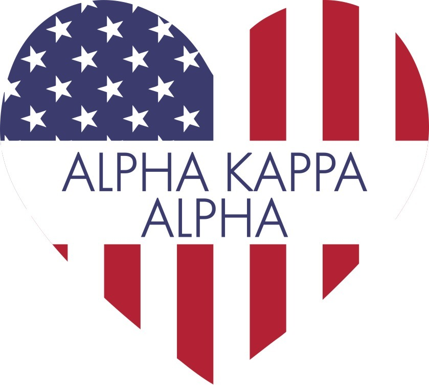 Alpha Kappa Alpha American Flag Greek Heart Shaped Decal