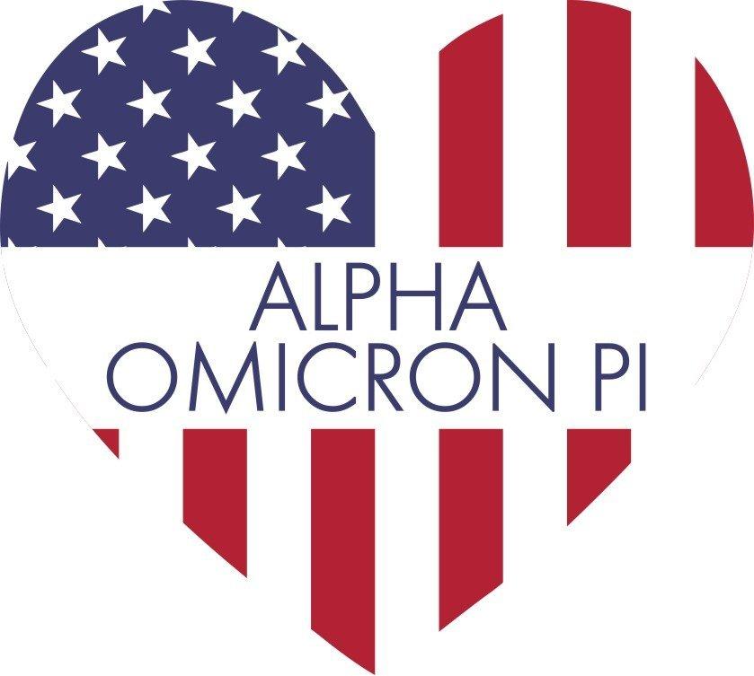 Alpha Omicron Pi American Flag Greek Heart Shaped Decal