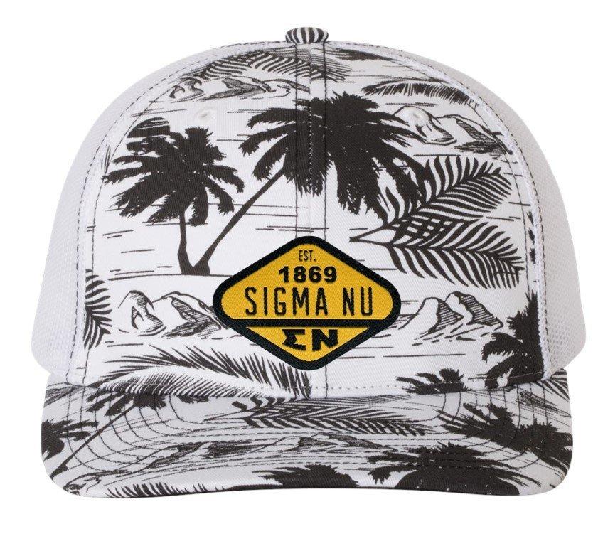 Sigma Nu Island Print Snapback Trucker Cap - CLOSEOUT