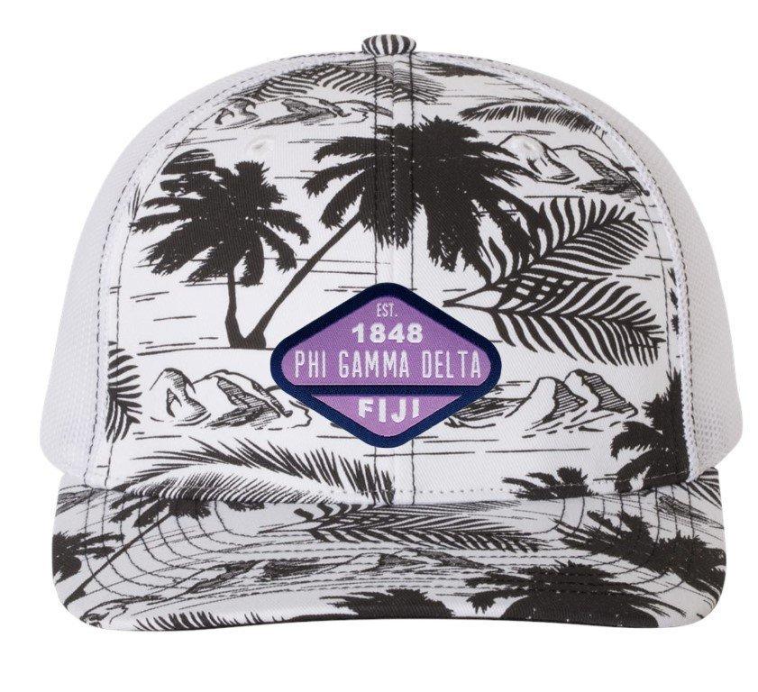 Fraternity Island Print Snapback Trucker Cap - CLOSEOUT