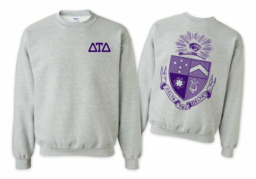 Delta Tau Delta World Famous Crest - Shield Printed Crewneck Sweatshirt- $25!